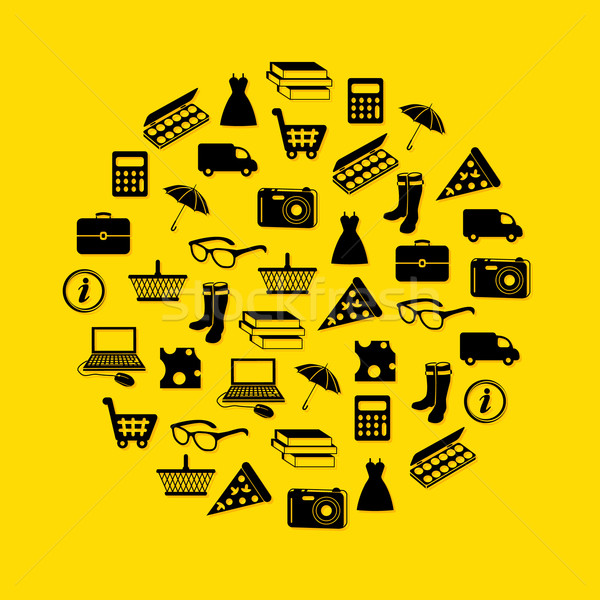 shopping icons in circle Stock photo © glorcza