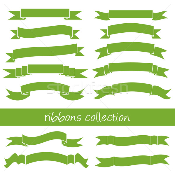 Zöld szalagok papír terv zászló retro Stock fotó © glorcza