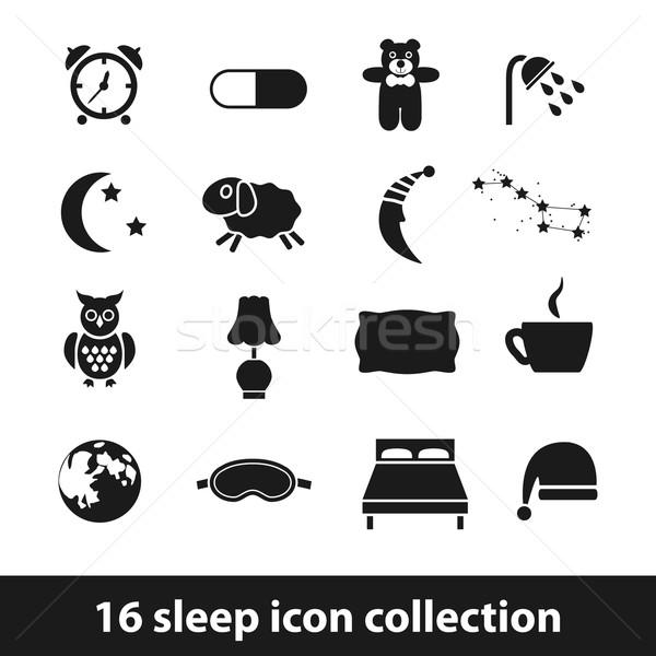 Alszik ikonok kávé terv éjszaka csillag Stock fotó © glorcza