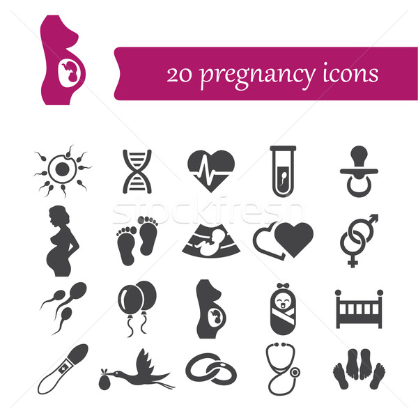 pregnancy icons Stock photo © glorcza