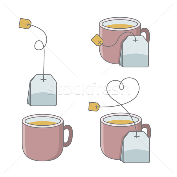 set of cup of tea with bag Stock photo © glorcza