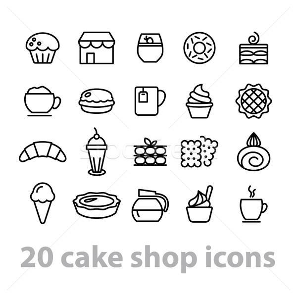 cake shop icons collection Stock photo © glorcza