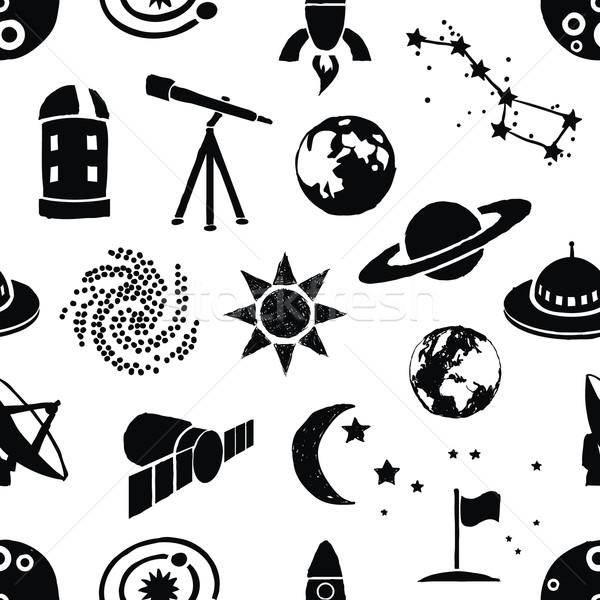 seamless doodle space pattern Stock photo © glorcza