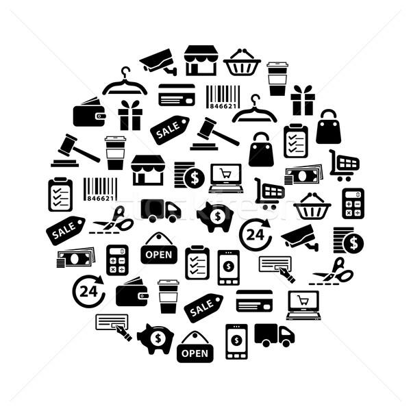 Winkelen iconen cirkel geld auto koffie Stockfoto © glorcza