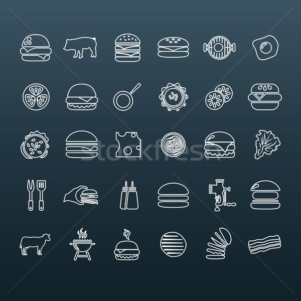 Hamburger contorno icone alimentare mano design Foto d'archivio © glorcza