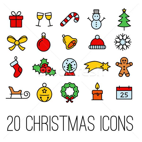 Stock fotó: Karácsony · vonal · ikonok · gyűjtemény · fa · bor