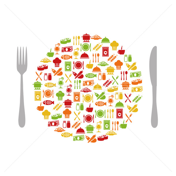 restaurant icons in circle with cutlery Stock photo © glorcza