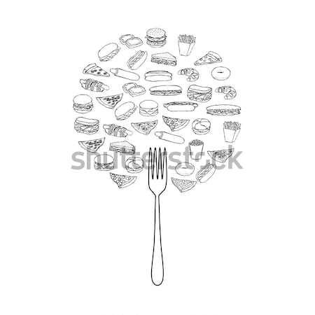 Ikon tányér terv torta narancs sajt Stock fotó © glorcza