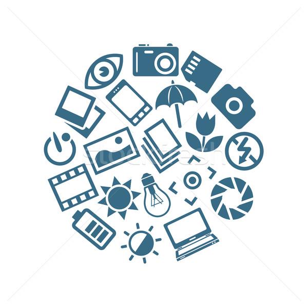 photography icons in circle Stock photo © glorcza