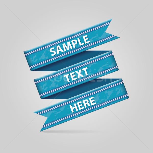 青 リボン 折られた 紙 デザイン フラグ ストックフォト © glorcza