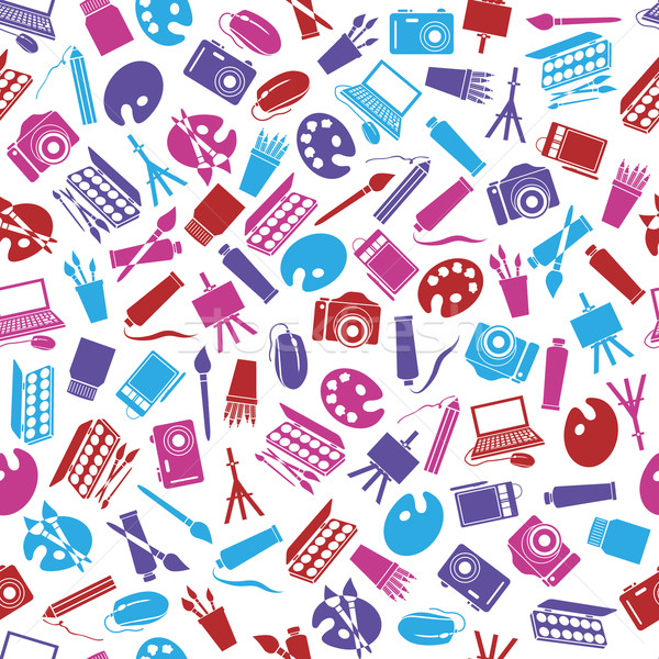 art icons seamless pattern Stock photo © glorcza
