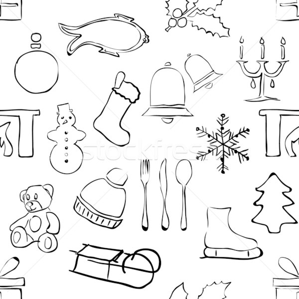 seamless doodle christmas pattern Stock photo © glorcza