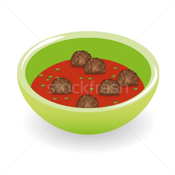 Almôndegas molho de tomate comida bola tomates cozinhar Foto stock © glorcza