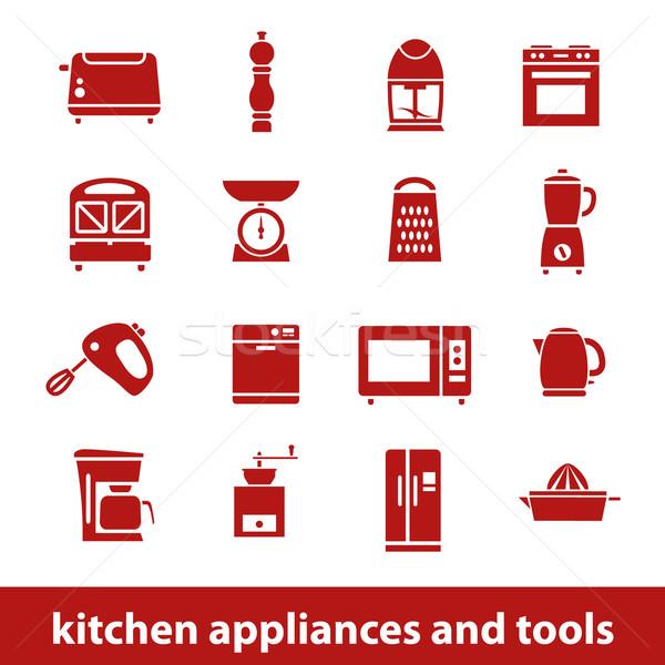 Utensílios de cozinha ferramentas ícones projeto cozinha máquina Foto stock © glorcza