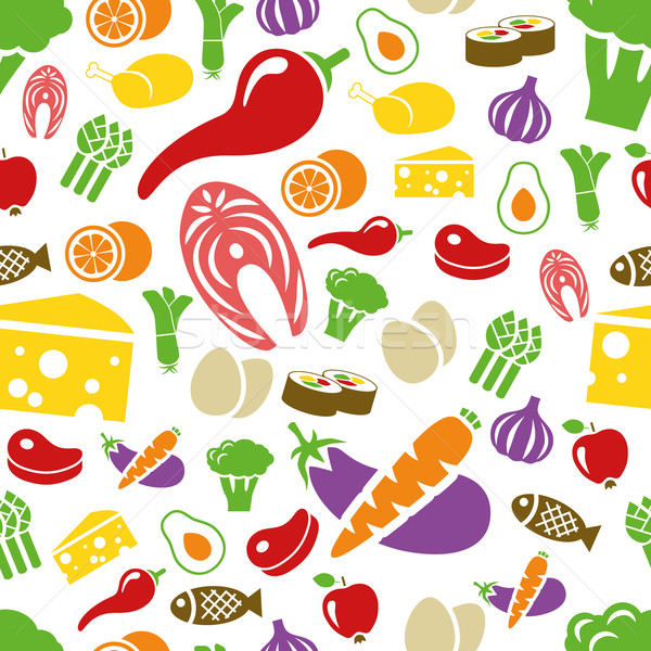 Stock photo: healthy food seamless pattern
