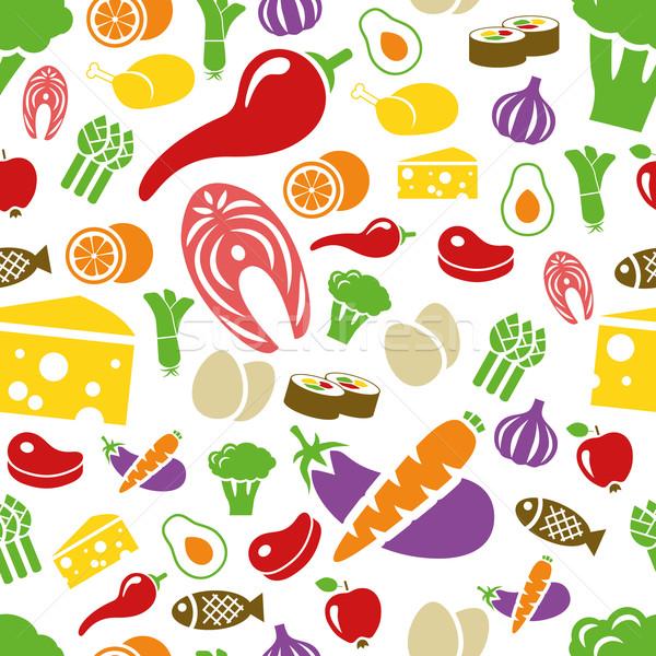 Stock fotó: Egészséges · étel · végtelen · minta · alma · terv · gyümölcs · tojás