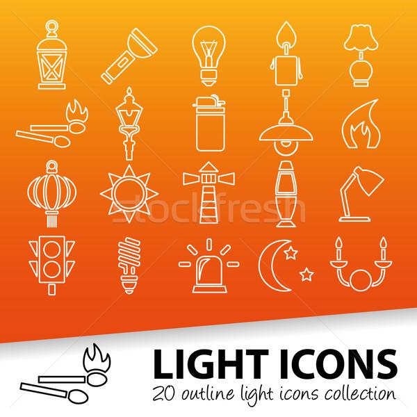 light outline icons Stock photo © glorcza