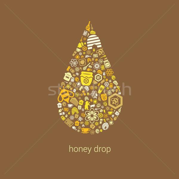 Miele icone drop alimentare foresta vetro Foto d'archivio © glorcza