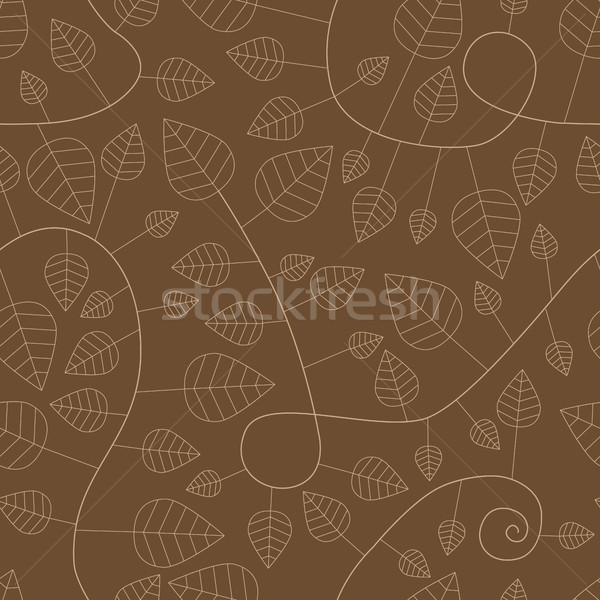 seamless pattern with leaves and curves Stock photo © glorcza
