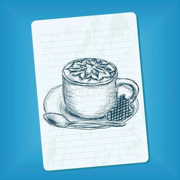 Firka csésze kávé kéz terv ital Stock fotó © glorcza