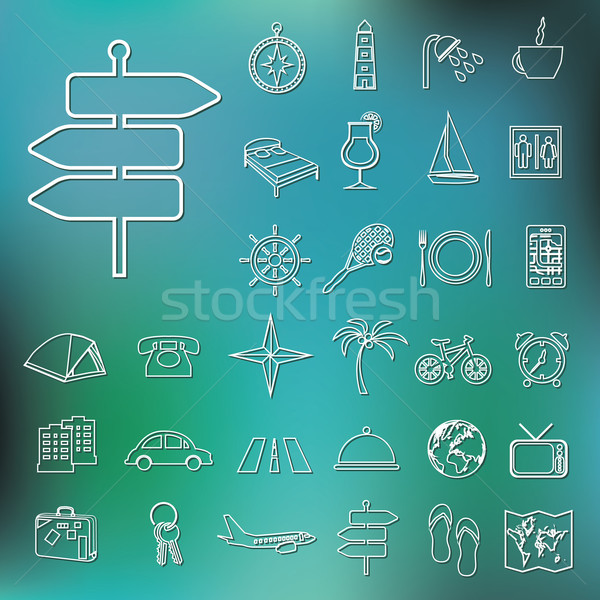 travel and accommodation outline icons Stock photo © glorcza