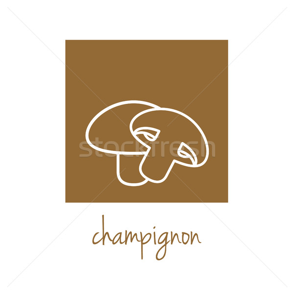 champignon icon on brown square Stock photo © glorcza