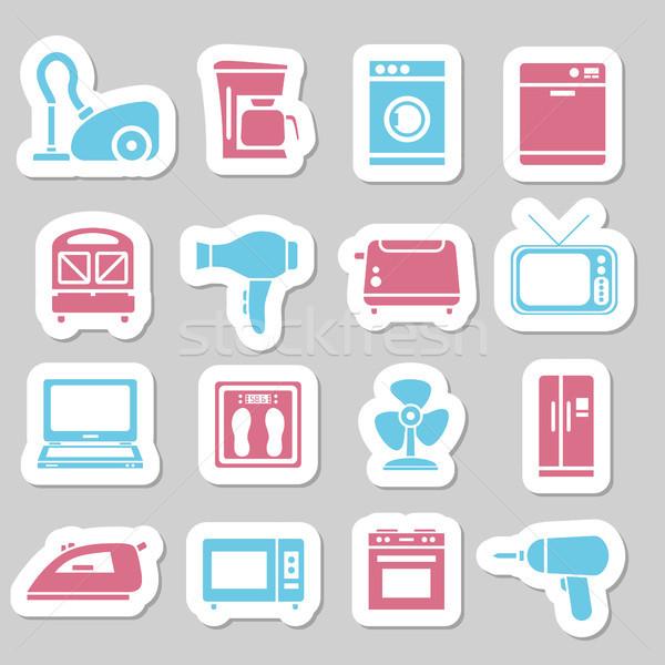 Maison appareil autocollants ordinateur télévision design Photo stock © glorcza