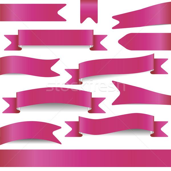 Conjunto rosa projeto assinar bandeira Foto stock © glorcza