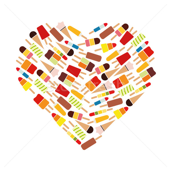 popsicle collection in heart Stock photo © glorcza