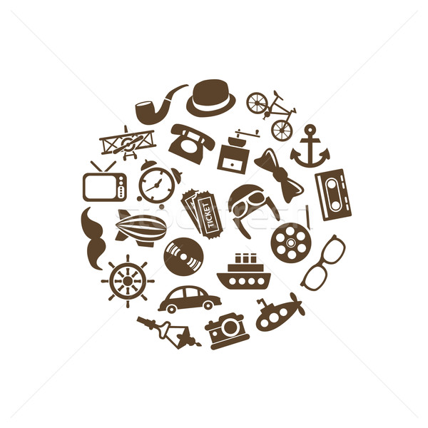vintage objects icons in circle Stock photo © glorcza