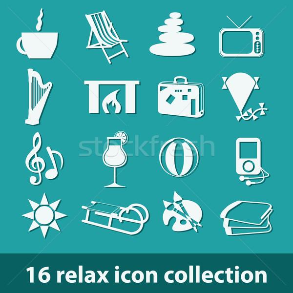 16 relax icona raccolta fuoco caffè Foto d'archivio © glorcza