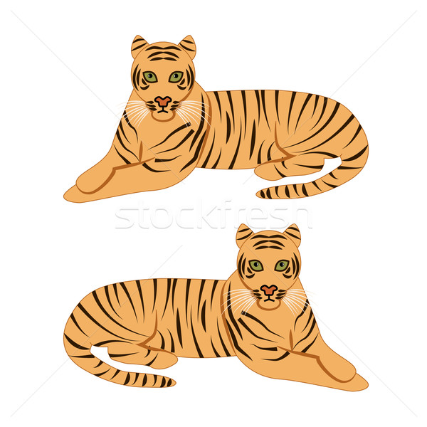 Сток-фото: Тигры · тигр · животного · Cartoon · Cute · вектора
