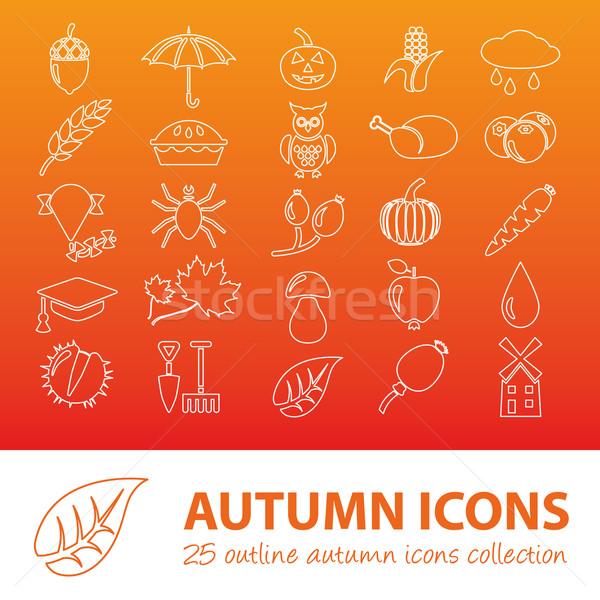 autumn outline icons Stock photo © glorcza