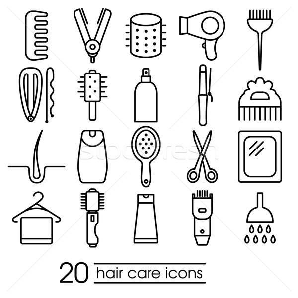 Foto stock: Cuidados · com · os · cabelos · ícones · coleção · projeto · assinar · quarto