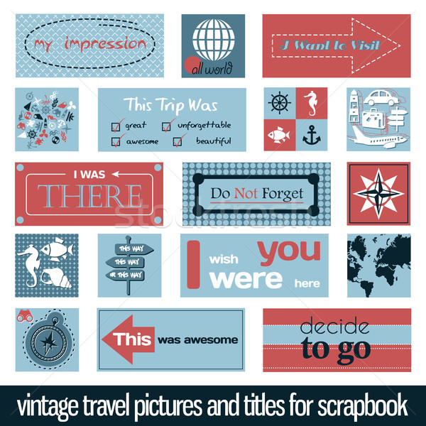 vintage travel pictures and titles Stock photo © glorcza