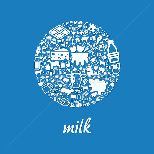milk icons in circle Stock photo © glorcza
