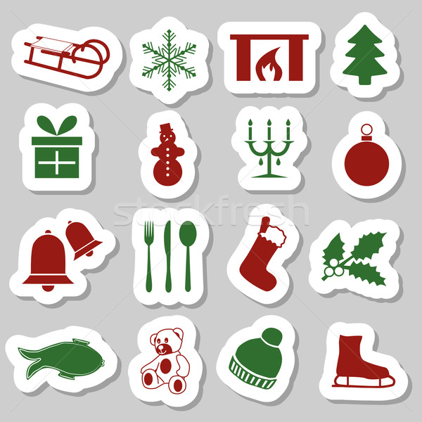 christmas stickers Stock photo © glorcza