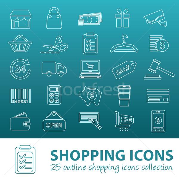 Winkelen schets iconen geld auto koffie Stockfoto © glorcza
