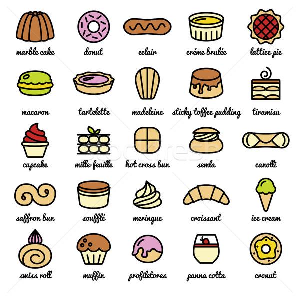 big line icon set of world best desserts and sweets Stock photo © glorcza