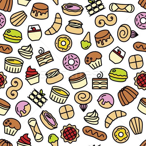 world best desserts and sweets seamless pattern Stock photo © glorcza