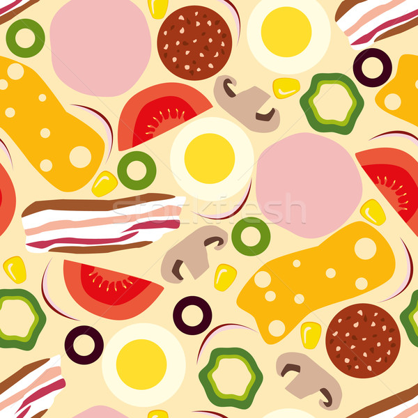 Pizza alimentaire design oeuf art Photo stock © glorcza