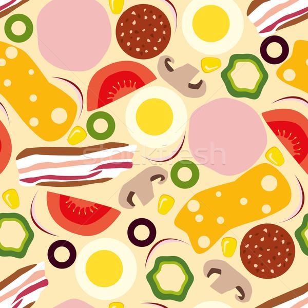 Pizza gıda dizayn yumurta sanat Stok fotoğraf © glorcza