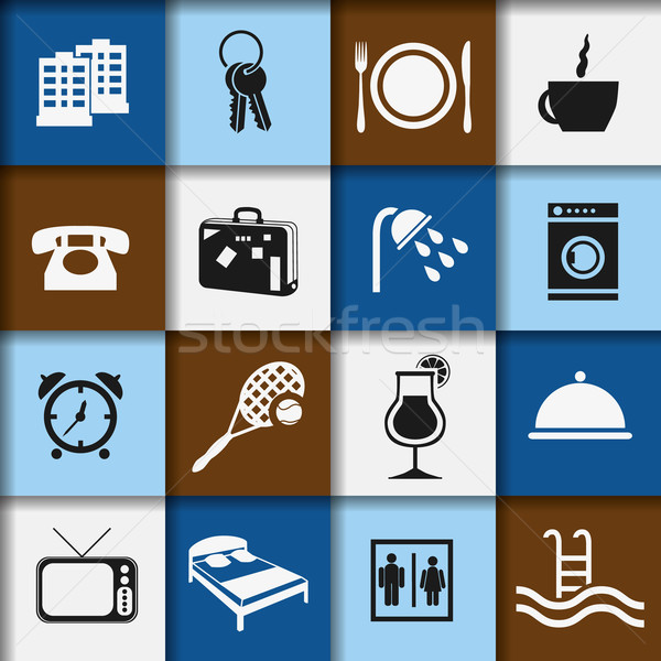 hotel and accommodation icons Stock photo © glorcza