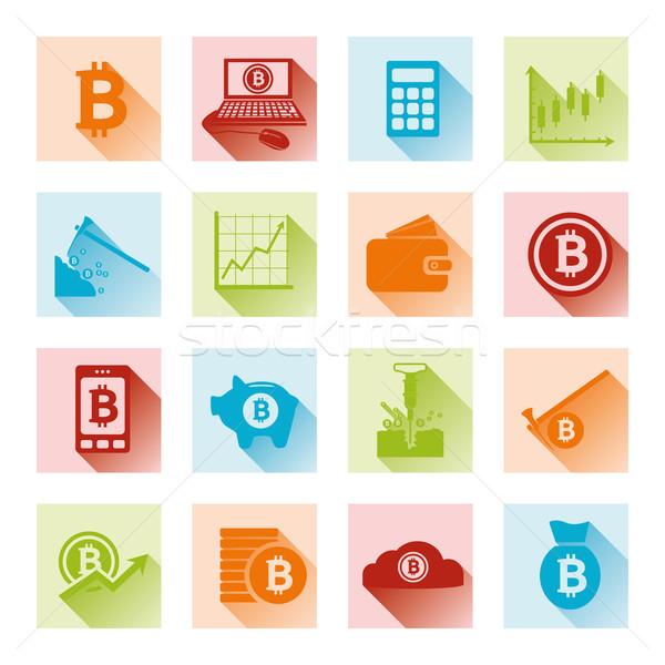 bitcoin flat icons Stock photo © glorcza