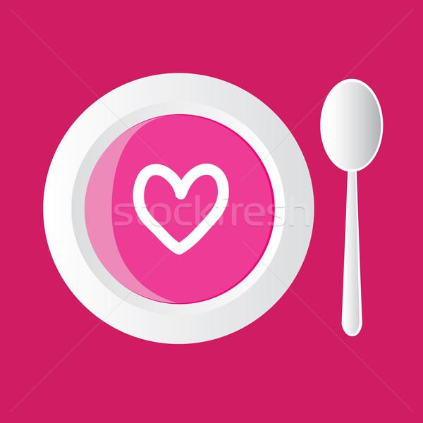Valentin nap leves különleges rózsaszín szívek étel Stock fotó © glorcza
