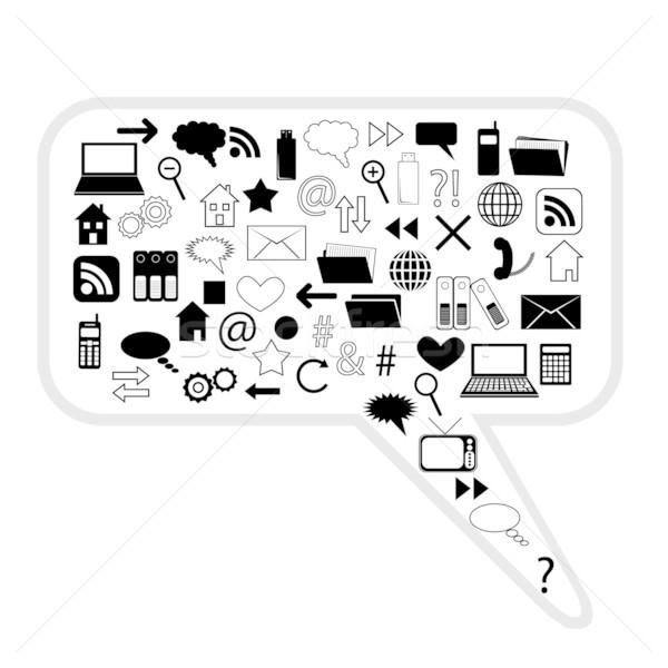 Comunicação bolha telefone casa arte teia Foto stock © glorcza