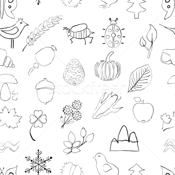 doodle seamless nature pattern Stock photo © glorcza