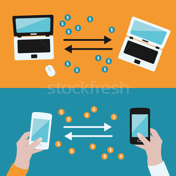 Stock photo: money transfer between devices