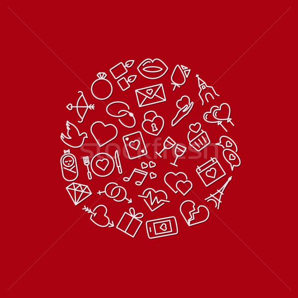 love icons in circle Stock photo © glorcza