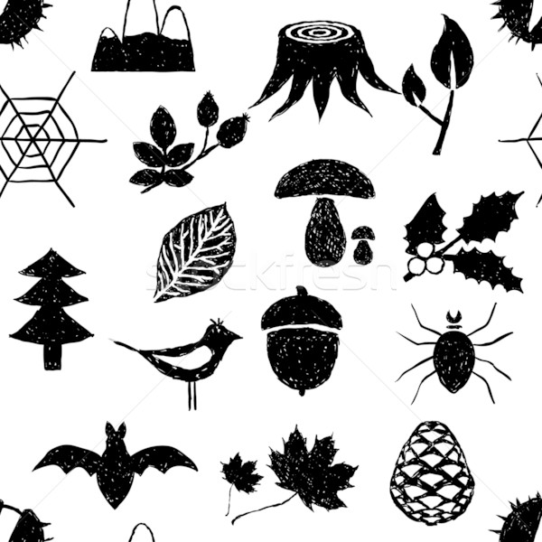 seamless doodle forest pattern Stock photo © glorcza